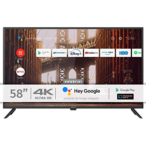 INFINITON INTV-58AF2300 – Televisor Smart TV 58' 4K UHD – Android 9.0 – Google Assistant – HBBTV – 4X HDMI – 3X USB - DVB-T2/C/S2 - Modo Hotel – Clase A+