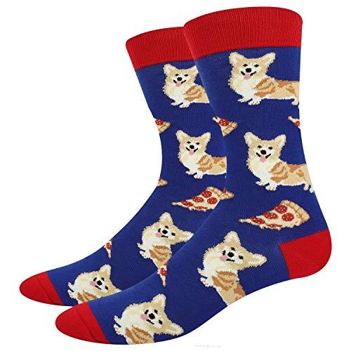 Jackgold Honey Crazy Food Socken für Herren, lustige Corgi, Mathematik, Ananas, Obstmuster, Geschenke Einheitsgröße Blue-Corgi und Pizza