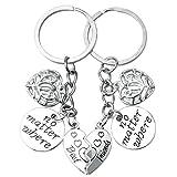 pengxiaomei 2Pcs Best Friends Keychain, Friendship Keyring No Matter Where Keyring Women Birthday Graduation Gifts