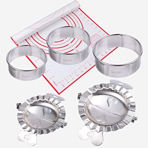 Edelstahl Ravioli Dumpling Former 6er Set,Ravioli Ausstecher,2 Knödelform ,3 Plätzchen Ausstecher and 1 Silikon Gebäck Mat ,Dumpling Maker Set