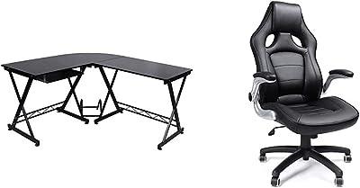 Songmics Bureau Informatique Table Informatique Travail Ordinateur Meuble de Bureau pour Noir, 150 x 138 x 75 cm, LCD402B & Fauteuil Gamer Fauteuil de Bureau, Accoudoirs Pliables, Noir,OBG62B