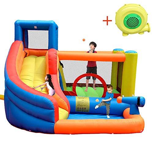 Grote Kinderen Water Slide Opblaasbare Kasteel met peuterbad, waterkanon, Trampoline, klimmuur, Nevel van het Water Features, voor 5-8 kinderen samen te spelen,320 * 280 * 210CM