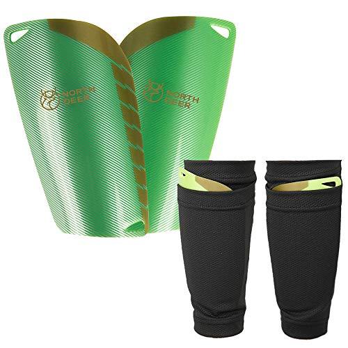 Northdeer Herren Schienbeinschoner Fußball mit Stutzen Socken - inkl. Strümpfe Schienbeinschonerhalter - Schienbeinschützer zum Einschieben (Grün L)