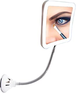 SunplusTrade Led 7X Magnifying Makeup Mirror Lighted Vanity Bathroom Square Mirror with 360 Degree Swivel Rotation, Flexible Gooseneck, and Locking Suction