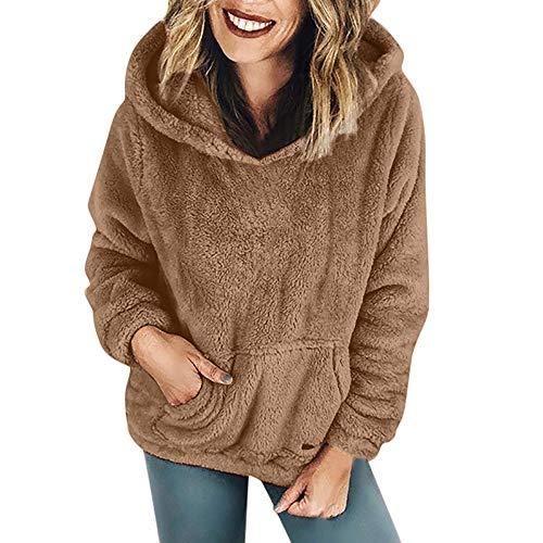 YEBIRAL Frauen Winter beiläufige Art und Weise Normallack mit Kapuze Sweatshirt-Mantel-warme Kaschmir-Wollreißverschluss-Baumwollmantel Outwear Sweatshirt(EU-44/CN-2XL,Khaki2)