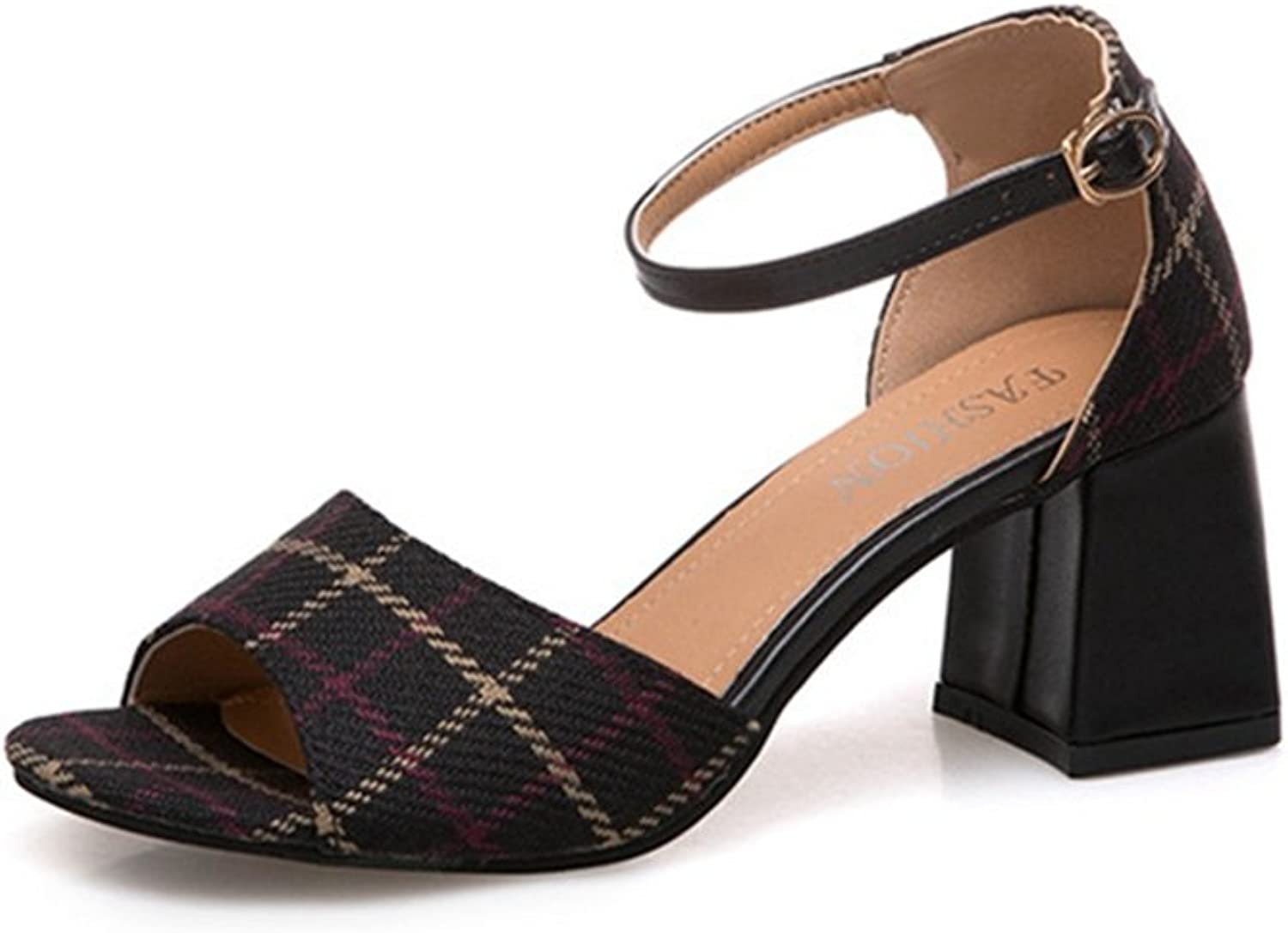 Zarbrina Womens Block Heel Sandals Ladies Sexy Fabric Plaid Open Toe Adjustable Ankle Strap Dress shoes