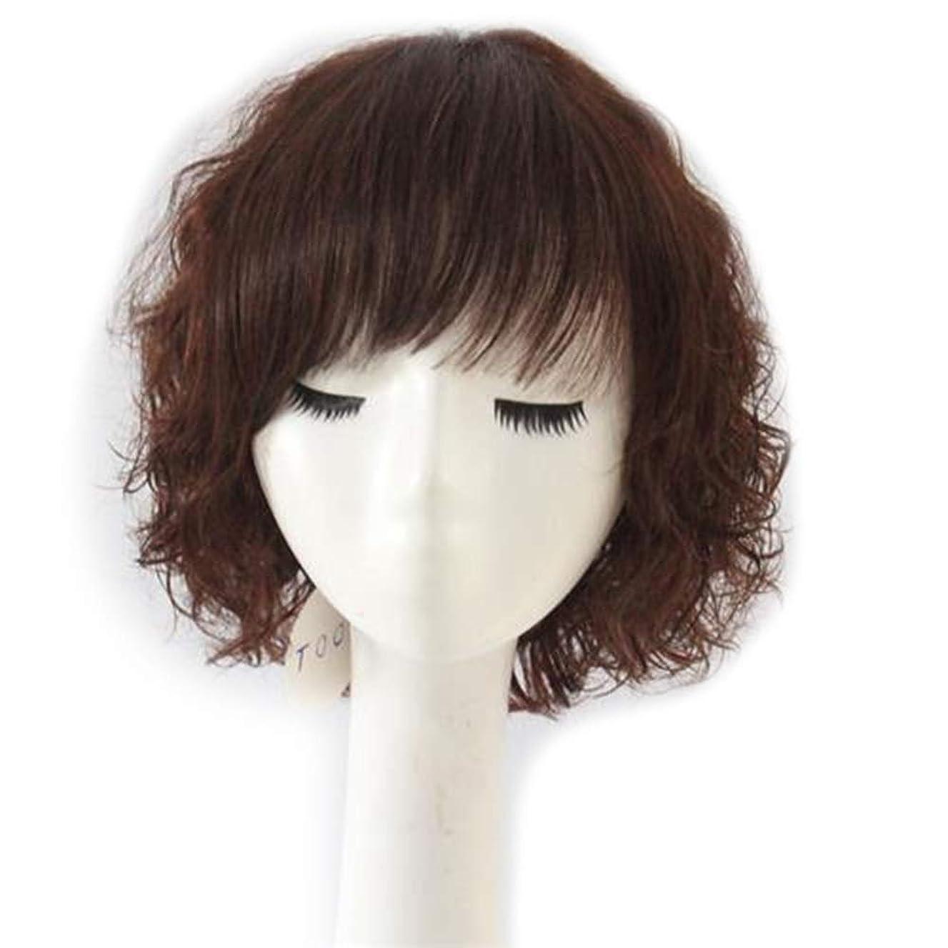 公平故意の機密BOBIDYEE 女性のふわふわショートカーリーヘアフルリアルウィッグファッションナチュラルウィッグ用母ギフトファッションウィッグ (色 : Dark brown)