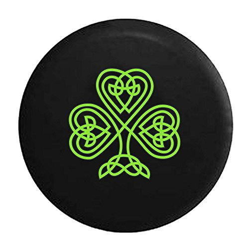 American Unlimited Green Celtic Knot Shamrock Irish Heritage Spare Tire Cover Black 29 in