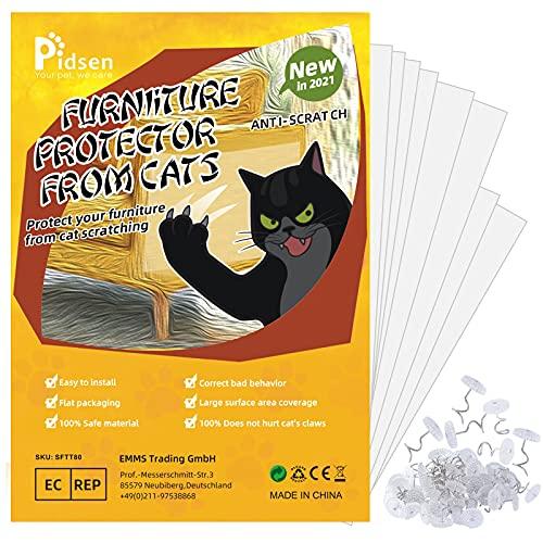 Pidsen Protezione Graffi Gatto, 8PCS Autoadesive Trasparente PVC Anti-Graffio Protector per Gatti e Cani con 48 Viti Protezione per Divano e mobili