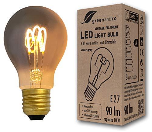 Vintage Glühfaden LED Lampe silbergrau ersetzt 10W E27 3W 90lm 2200K extra warmweiß 360° 230V nicht dimmbar 2 Jahre Garantie