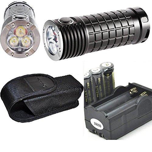 Olight SR MINI Intimidator 2800 Lumen Cree XM-L2 LED diffused Flashlight, Three 18650 Rechargeable LegionArms Batteries and Charger Kit