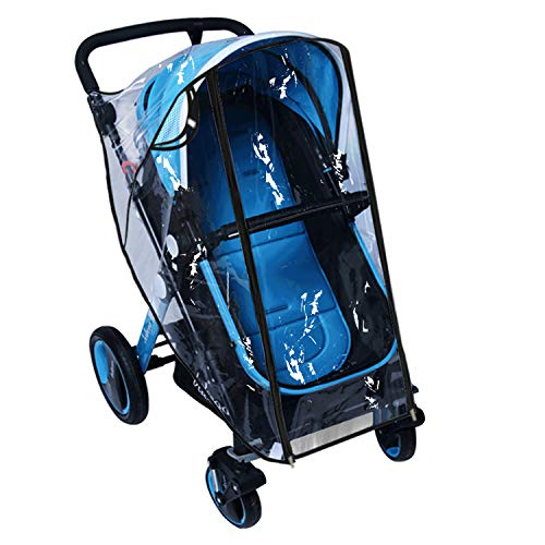 Pushchair Rain Cover Pram Wind Snow Cover Buggy Stroller Weather Shield Travel Accessories Universal Size Protect from Rain Cold Dust Water Clear EVA Plastic (Large)