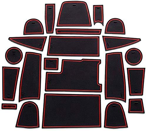 LFOTPP Ecosport Gummimatten, Wasser Becherhalter Innentür Matten Antirutschmatten, Türschlitzmatte 22 Stücke (Rot)