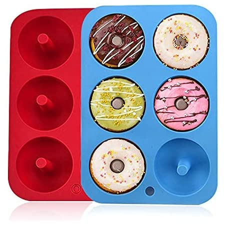 Moldes de silicona para hacer donuts, 6 cavidades antiadherentes, de silicona, bandeja para hornear rosquillas, magdalenas, bagels, galletas, pasteles, color azul, rojo, paquete de 2 unidades