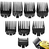 8 PCS 8 Length Professional Hair Clipper Guide Combs, Replacement Guards Set, Attachment Guide Combs, Great Fits for All Full-Size Wahl Clippers/Trimmers(Black)