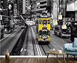 Fotomurales Papel tapiz personalizado grande retro nostálgico hong kong tranvía blanco y negro foto mural fondo de fondo de pared-300 x 210 cm-4 (ancho * altura)