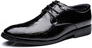 2019 Mens New Lace-up Flats Men's Business Formal Shoes Oxford Casual Pointed Crocodile Strap Solid Color
