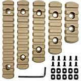 Pecawen Picatinny Rail Section 5,7,9,11,13 Slot,Compatible with Mlok Systems,Picatinny Rail Accessory Set with 10 T-Nuts & 10 Screws & Allen Wrench Tan