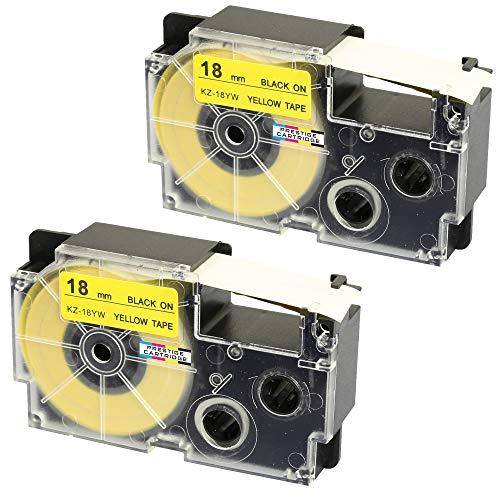 2 Kassetten XR-18YW XR-18YW1 schwarz auf gelb 18mm x 8m Schriftband kompatibel für CasioKL-60 KL-100 KL-120 KL-200 KL-300 KL-750 KL-780 KL-820 KL-2000 KL-7000 KL-7200 KL-8100 Beschriftungsgerät