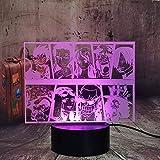 One Piece Team - Luz nocturna de One Piece manga figura Ruffy Sanji Zoro Joe Nami Lysop Chopper 3D LED ilusión lámpara de mesa cambio de color Lampara habitación infantil Touch Lights decoración