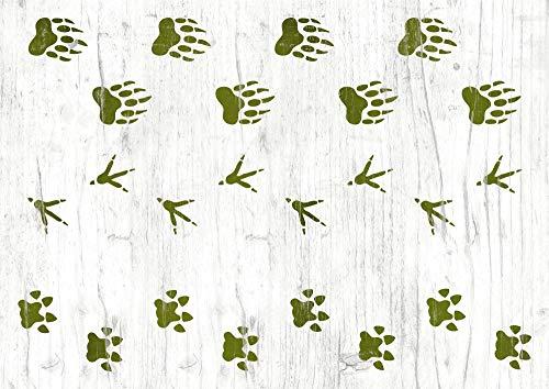Schablone mit Abdrücken von Bär, Raubkatze und Vogel - Tierspuren Muster