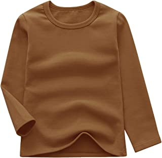 GLEAMING GRAIN Toddler Boys Girls Long Sleeve T-Shirts Unisex Kids Cotton Basic Round Neck Top Tee 2-8T
