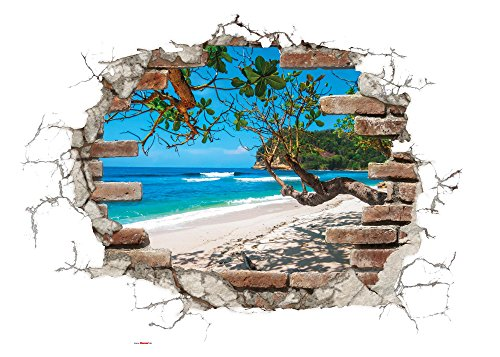 Komar - Deco-Sticker BREAK OUT- 50 x 70 cm -  Wandtattoo, Wandbild, Wandsticker, Wandaufkleber, Walltattoo, Ausblick, Steinmauer, Sticker, Strand, Meer, Ziegel - 17054h