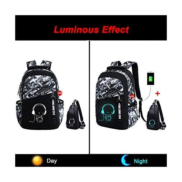 51kzhBmDDZL. SS600  - UMYMAYDO1 DJ Luminous Mochila, Unisex Schoolbag Mochila para portátil Bolsa Fresca para Adolescentes con USB Puerto…