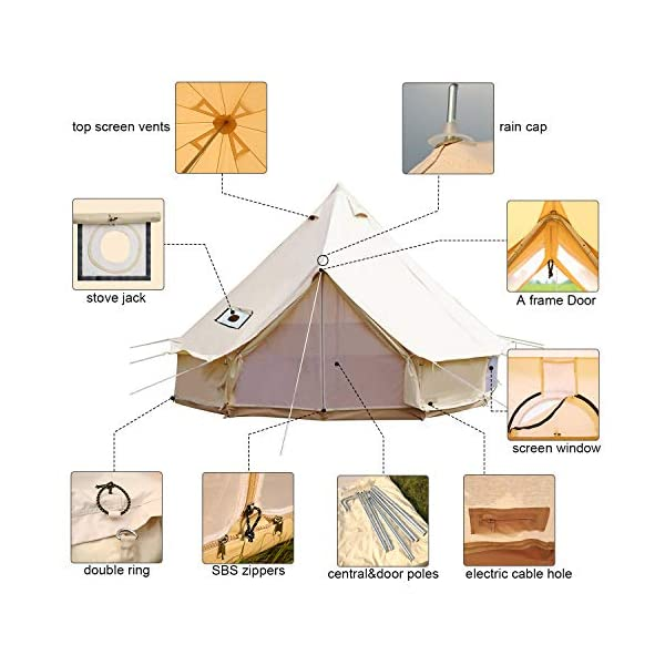 Sporttent Camping 4 Season Waterproof Cotton Canvas Bell Tent with Stove Hole and Cable Hole 7