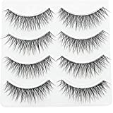 PURELEOR 3D Wispies Clear Band False Eyelashes Bulk Extensions 4 Pairs Natural Long Lashes With Volume for Women's Make Up Handmade Soft Fake Eyelash