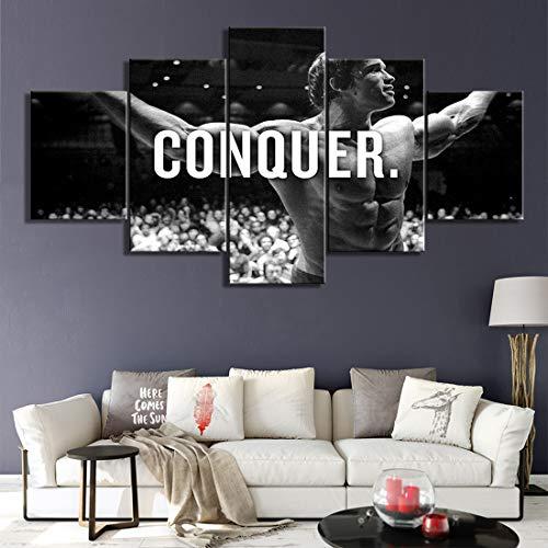 Angle&H Conquer Arnold Schwarzenegger Kunst Poster Bodybuilding 5-Panel Segeltuch Druck Gemälde Wand Kunstwerk zum Wohnzimmer,A,20x30x2+20x50x1+20x40x2