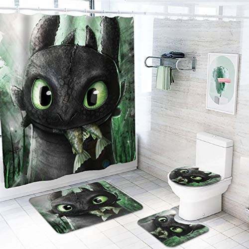 4 Piece How to Tr-a-in Your Dr-ag-on Shower Curtain Sets with Non-Slip Rug, Toilet Lid Cover, Bath Mat and 12 Hooks, Durable Waterproof Bath Curtain