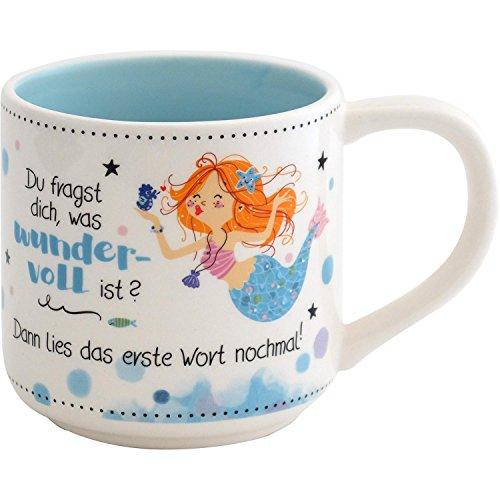 Gruss und Co 45681 Tasse mit Figur Meerjungfrau, Fräulein Meer, Kaffee-Tasse, Dolomit, mit Geschenk-Tag