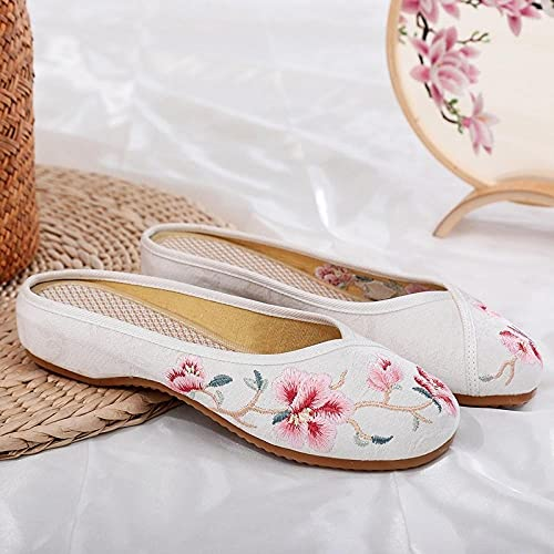 Jskdzfy Ladies embroidered shoes Flower Embroidered Women Jacquard Flat Slippers Comfortable Close Toe Mules Ladies Leisure Summer Cotton Fabric Shoes (Color : White, Size : 6.5)