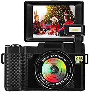 デジカメ デジタルカメラ YouTubeカメラ 24.0 MP 2.7K FULL HD 180度回転スクリーン 連続ショット初心者/学生/家族 誕生日、クリスマス、旅行、お正月、入学のプレゼント 日本語説明書付き
