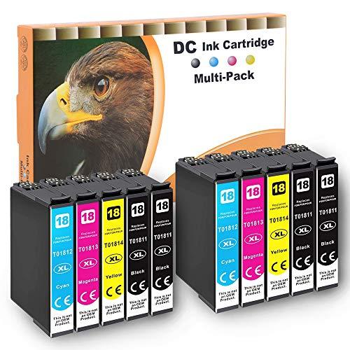 D&C 10x Cartuchos de impresora compatibles para Epson 18 18XL para Epson Expression Home XP-102 XP-201 XP-202 XP-203 XP-205 XP-206 XP-210 XP-212 XP-215 XP-225 XP-302 XP-305 XP-310 XP-312 XP-313