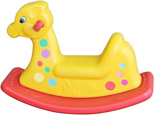 solo cómpralo FRF Troyano- Juguete Juguete Juguete de troyano Animal de Dos Colors para Niños, Juguete plástico de Interior y Exterior de Caballo Mecedora (Color   amarillo B, Talla   73x30x50cm)  ordenar ahora