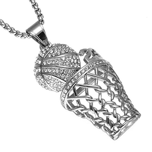 SINLEO Men's Hip Hop Iced Out Diamond Mini Basketball Rim Pendant Charms Stainless Steel Necklace 24 Inch Chain Number 23 Silver