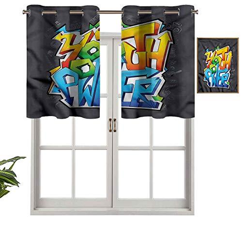 Hiiiman Cortinas pequeñas para ventana, decoración del hogar, arte graffiti juvenil, juego de 2, 137 x 60 cm, para cocina, comedor, habitación de niñas, filtro de luz