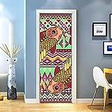 KEXIU 3D Piscis de dibujos animados PVC fotografía adhesivo vinilo puerta pegatina cocina baño decoración mural 77x200cm