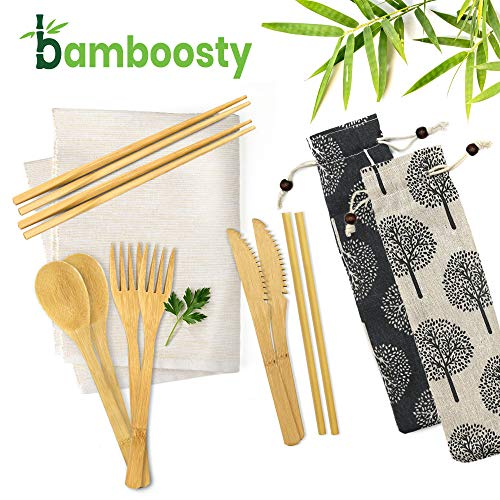 2 Pack Bamboosty Eco Friendly Bamboo Cutlery Set 6 Piece Pack of Wooden Utensils with Reusable Bamboo Spoon, Fork, Knife, Chopsticks, Bamboo Straw and Reusable Straw Cleaner For Travel and Camping