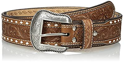 Nocona Men's Natural Wide Cross Buckstitch, Medium Brown, 42