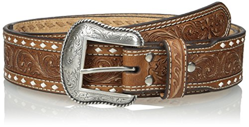 Nocona Belt Co. Men's Natural Wide Cross Buckstitch, Medium Brown, 34