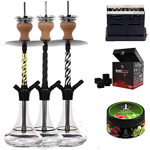 COCO BLANCO Set completo XXL (shisha de alta calidad, encendedor de carbón prémium, carbón para shisha y piedras de vapor) todo para fumar directamente