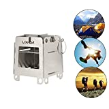 Lixada Portable Stainless Steel Lightweight Folding Wood Stove Pocket Stove for Camping Cooking Picnic Backpacking...
