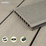 HORI® WPC-Terrassendiele Royal Hellgrau Hohlkammer I Komplettset inkl. 45x45 mm Unterkonstruktion & Clips I Fläche: 1 Muster I Muster Dielenlänge