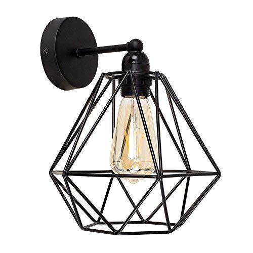 Vintage Metall Draht Käfig Lampenschirm Wandlampe Deckleuchte - Modern Industrielle DIY Halter Schatten Lampe Stehlampe Wandleuchte Hängeleuchten Pendelleuchten für Küchen Schlafzimmer,Schwarz