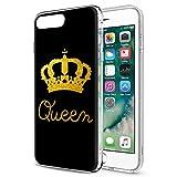 Funda iPhone 8 Plus, Funda iPhone 7 Plus, Eouine Cárcasa Silicona 3d Suave TPU con King Queen Dibujos Impresión Patrón Bumper Case Cover Fundas para Movil Apple iPhone 8Plus / 7Plus (Queen, Oro)