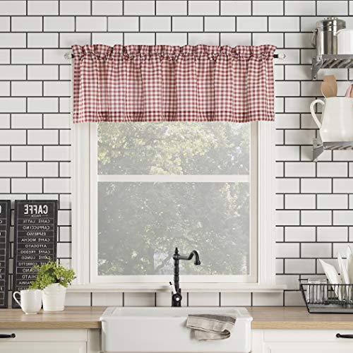 "No. 918 Parkham Farmhouse Plaid Semi-Sheer Rod Pocket Kitchen Curtain Valance, 54"" x 14"", Red/White"