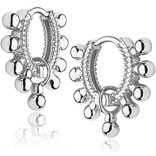 Mevecco Gold Dainty Huggie Hoop Earring,18K Gold Plated Cute Tiny Drop Ball Hoop Earrings for Women White Gold